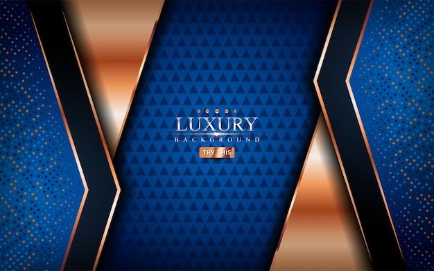 Fond bleu de luxe avec des lignes dorées brillantes.