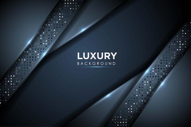 Fond bleu marine luxueux avec des points brillants et une couche de chevauchement. abstrait moderne.