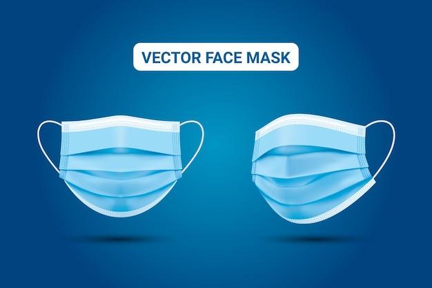 Fond bleu avec masque médical réaliste protection contre les coronavirus vecteur premium