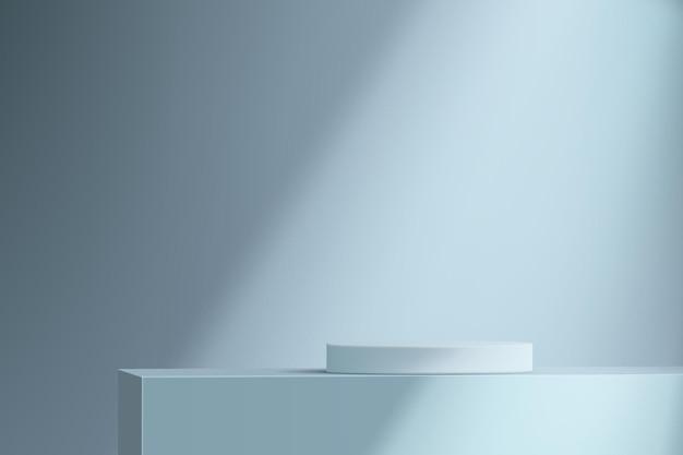 Fond bleu minimaliste avec un piédestal. podium cylindrique vide pour démonstration de produit avec un faisceau lumineux.