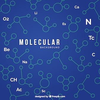 Fond bleu avec des molécules