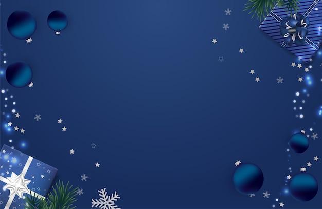 Fond bleu de noël avec des cadeaux de noël. fond de joyeux noël et bonne année