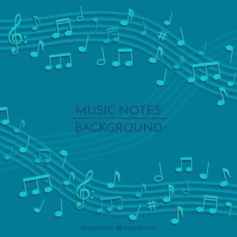 Fond bleu de pentagramme avec notes musicales