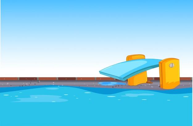 Fond bleu de la piscine
