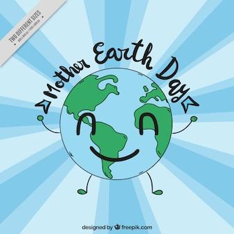 Fond bleu avec la planète terre souriante