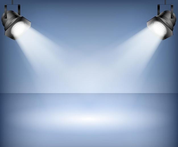 Fond bleu avec des projecteurs