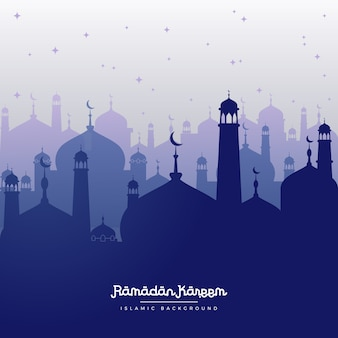 Fond bleu de ramadan kareem