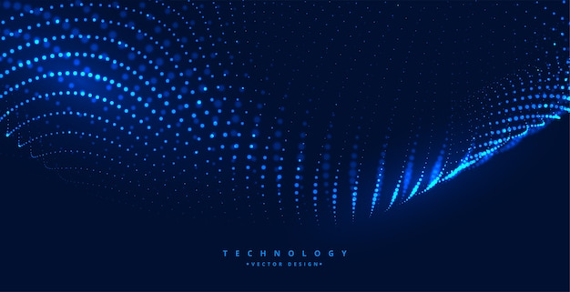 Fond bleu de technologie numérique avec des particules incandescentes