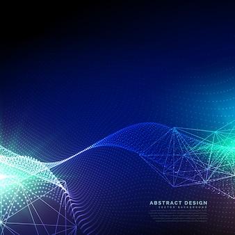 Fond bleu de technologie avec des particules ondulées flottantes