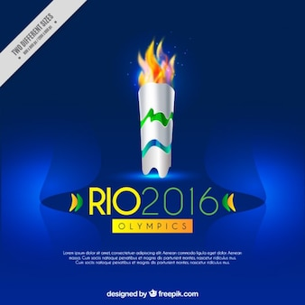 Fond bleu avec la torche olympique