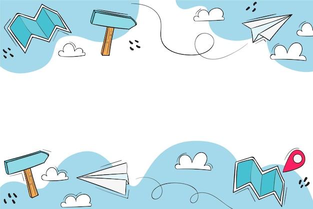Fond bleu de voyage dessiné à la main