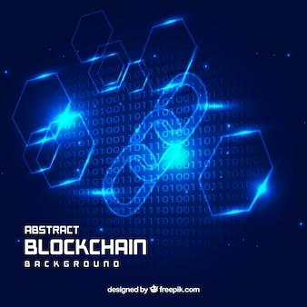 Fond de blockchain bleu abstrait