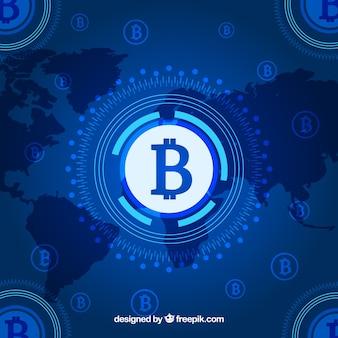Fond de blockchain avec carte du monde