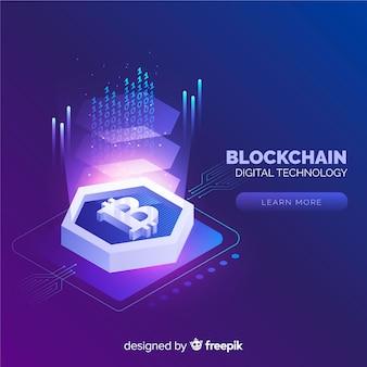 Fond blockchain dans un style isométrique