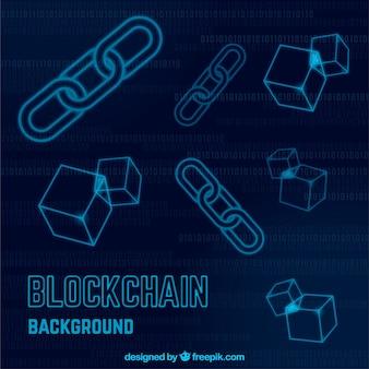 Fond de blockchain avec des icônes