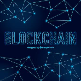 Fond de blockchain avec des points et des lignes