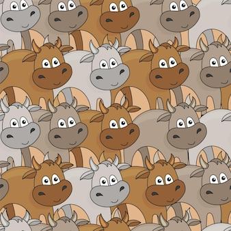 Fond de boeuf mignon. modèle sans couture avec de petites vaches ou taureaux de dessin animé. idéal pour les livres pour enfants, le papier peint, le tissu, la carte, la conception d'emballages.