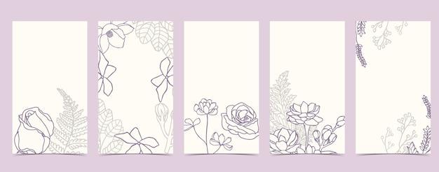 Fond de boho pour les médias sociaux avec rose, jasmin, fleur sur fond blanc