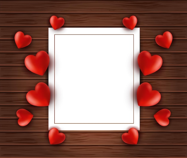 Fond en bois avec cadre en papier blanc et coeurs. modèle de bonne saint-valentin pour carte