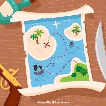 Fond en bois avec une carte du trésor et des éléments pirate