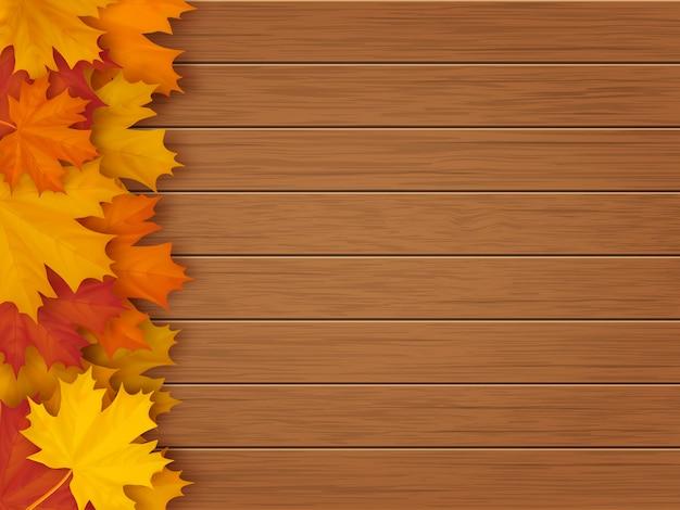 Fond en bois de feuilles d'érable
