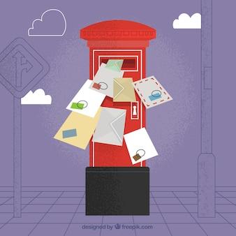 Fond de boîte aux lettres rouge avec plusieurs enveloppes