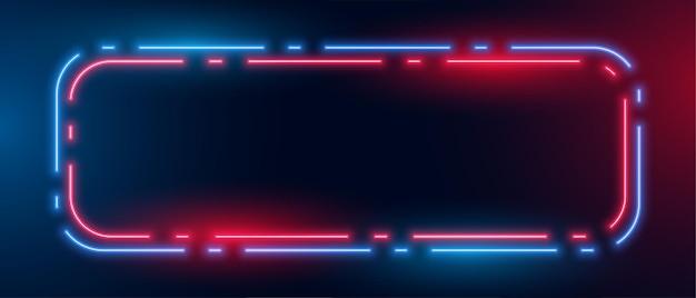Fond de boîte de cadre lumineux néon bleu et rouge