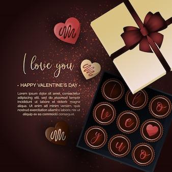 Fond de boîte de chocolat saint valentin