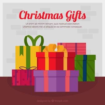 Fond de boîtes-cadeaux au design plat
