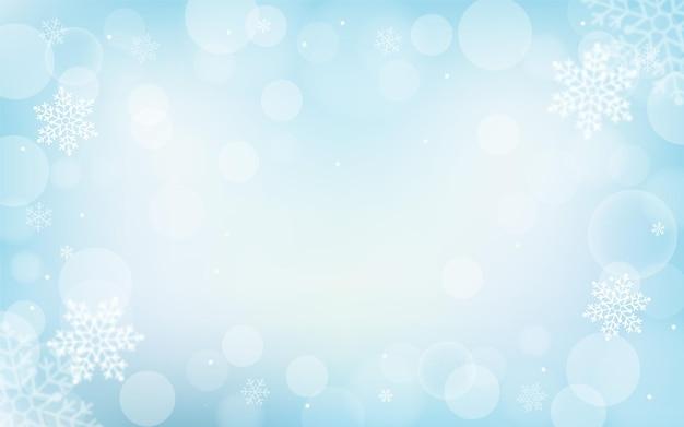 Fond de bokeh de flocons de neige d'hiver