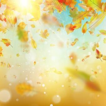 Fond de bokeh flou coloré pluvieux d'automne. et comprend également