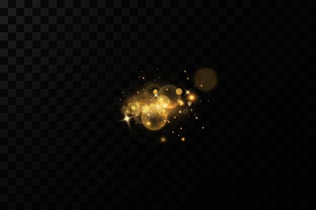 Fond de bokeh d'or décorations de fond de particules légères de poussière d'or