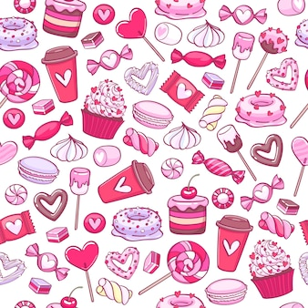 Fond de bonbons et biscuits de la saint-valentin. bonbons assortis.
