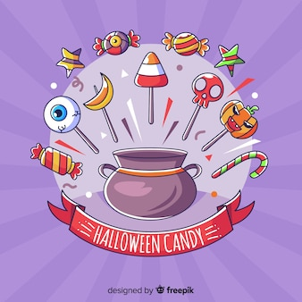 Fond de bonbons d'halloween dessinés à la main