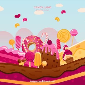 Fond de bonbons savoureux terrain dans un style plat