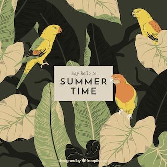 Fond de bonjour l'été avec des oiseaux et des plantes dans le style vintage