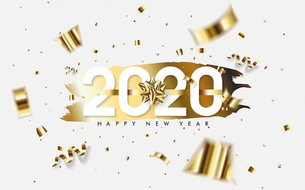 Fond de bonne année 2020 avec des morceaux de papier doré et des chiffres blancs