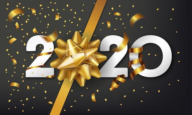 Fond de bonne année 2020 avec noeud cadeau doré et confettis