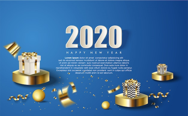 Fond de bonne année 2020 avec plusieurs coffrets cadeaux et chiffres blancs
