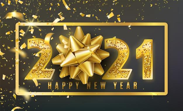 Fond de bonne année 2021 avec noeud de cadeau doré, confettis, numéros d'or de paillettes brillantes