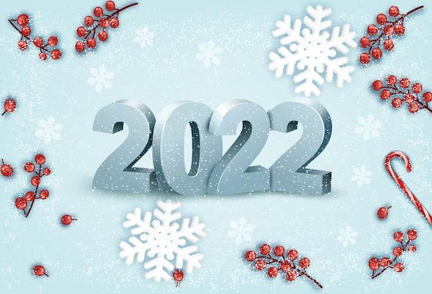 Fond de bonne année avec un 2022 et des flocons de neige. vecteur.