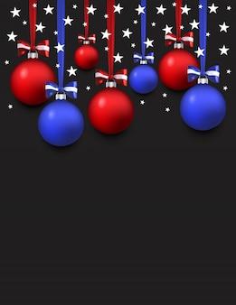 Fond de bonne année avec les couleurs du drapeau américain. boules bleues et rouges et étoiles blanches