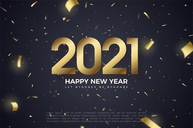 Fond de bonne année avec illustration de la figure dorée et papier or coupé sur fond noir