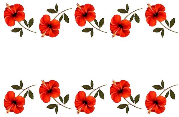 Fond avec une bordure de fleurs rouges.