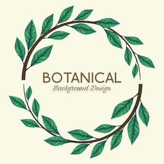 Fond botanique avec couronne de feuilles