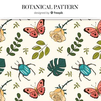 Fond botanique dessiné à la main