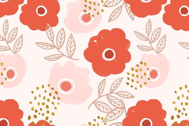 Fond botanique motif fleur doodle