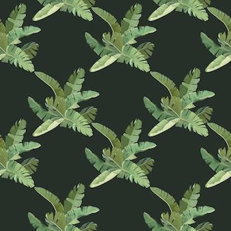 Fond botanique vert avec des feuilles et des branches tropicales de bananier, motif sans couture, papier d'emballage ou impression textile, ornement de papier peint de forêt tropicale, design décoratif. illustration vectorielle
