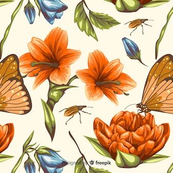 Fond botanique vintage dessiné à la main