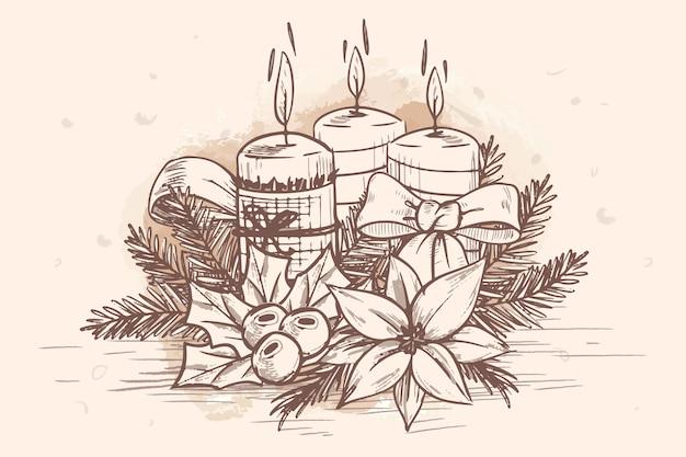 Fond de bougie de noël dessiné à la main